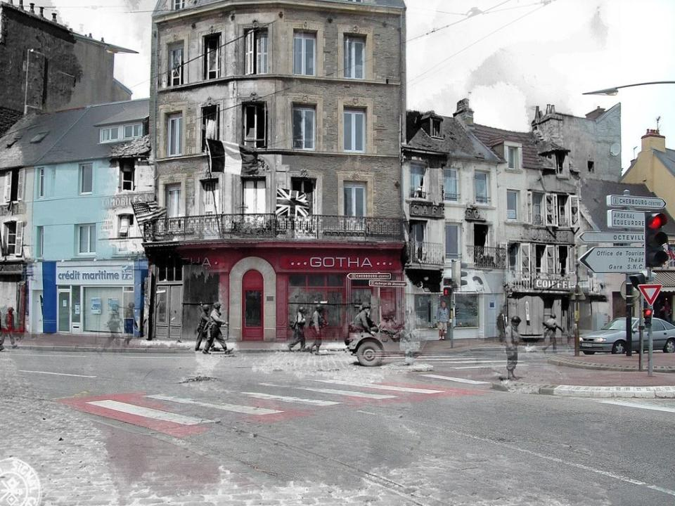 """The place is the same. The context is different. Allied soldiers walking the streets of Cherbourg.<br><br>(<a href=""""http://www.flickr.com/photos/hab3045/collections/72157629378669812/"""" rel=""""nofollow noopener"""" target=""""_blank"""" data-ylk=""""slk:Courtesy of Jo Teeuwisse"""" class=""""link rapid-noclick-resp"""">Courtesy of Jo Teeuwisse</a>)"""