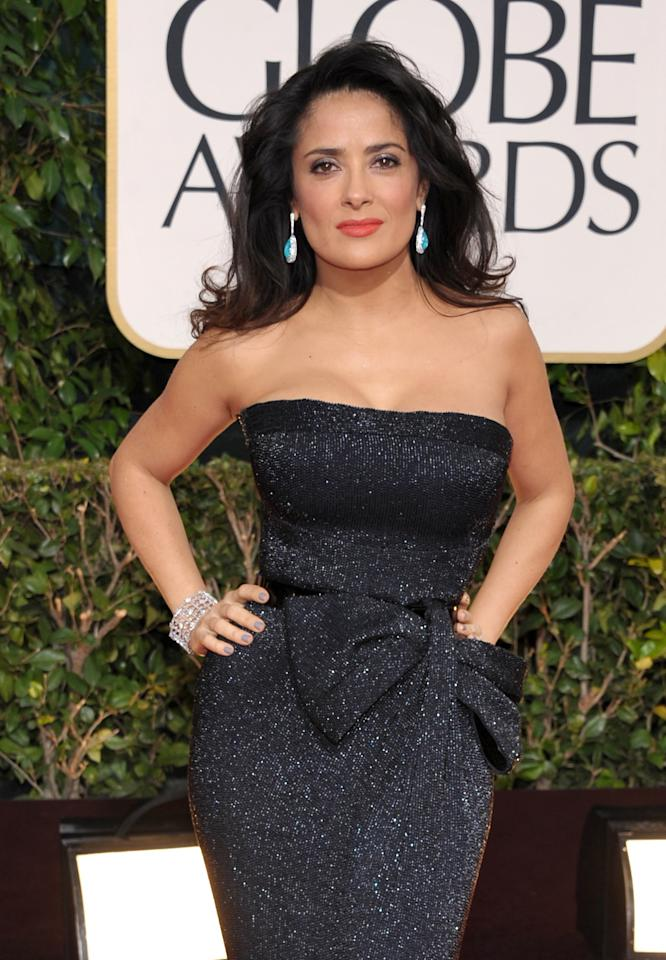 Actress Salma Hayek arrives at the 70th Annual Golden Globe Awards at the Beverly Hilton Hotel on Sunday Jan. 13, 2013, in Beverly Hills, Calif. (Photo by John Shearer/Invision/AP)