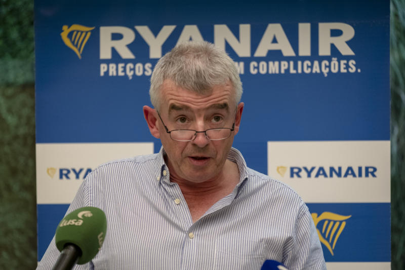 LISBON, PORTUGAL - OCTOBER 09: Ryanair CEO Michael O'Leary during his press conference at Lux Lisboa Park Hotel to announce the company launching 12 new routes in Portugal for 2019 Summer, on October 09, 2018 in Lisbon, Portugal. (Photo by Horacio Villalobos - Corbis/Corbis via Getty Images)