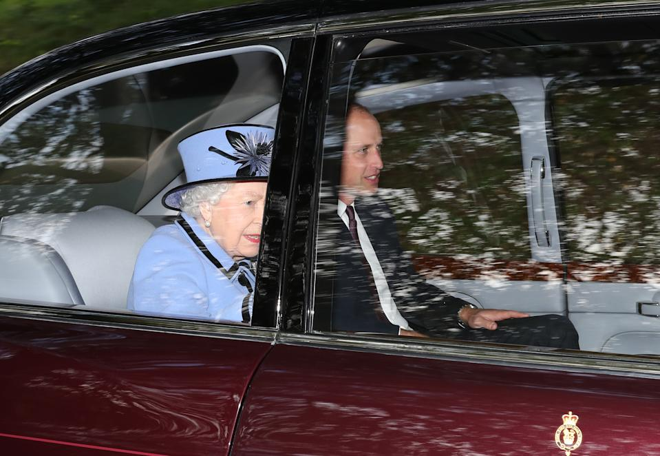 The Queen and Prince William arrive at Crathie Kirk after attending a Sunday morning service near Balmoral.