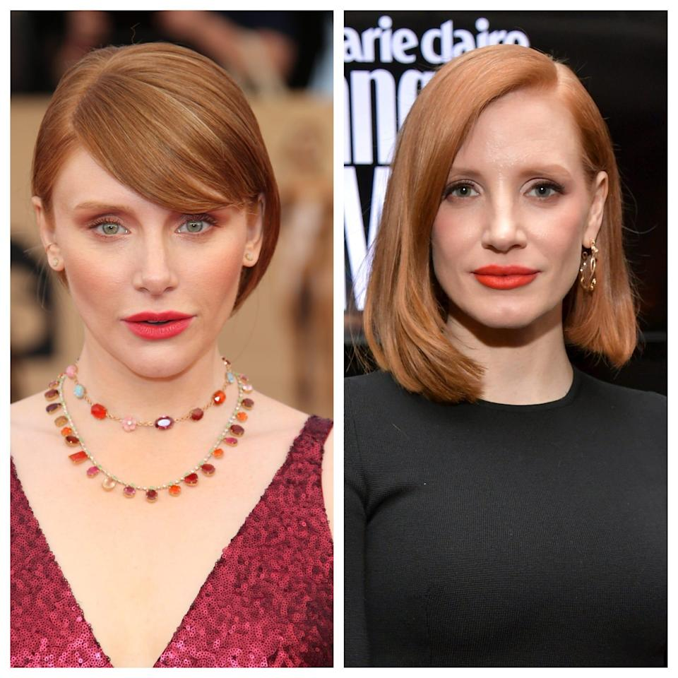 Are you seeig double? Jessica Chastain, right, reminded fans Wednesday that she and Bryce Dallas Howard, left, are different people.