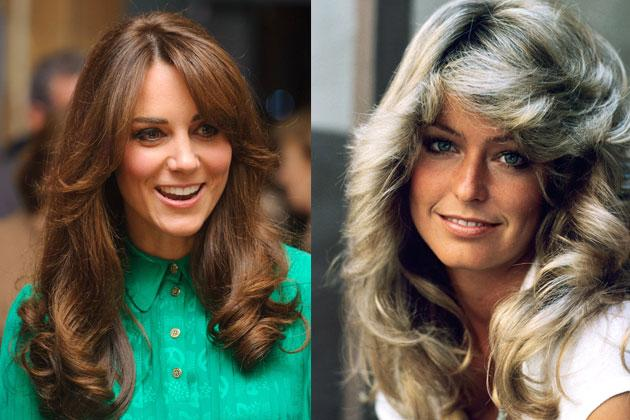 Farah Fawcett (right) popularized this style in the late 70s with her show Charlie's Angels. Today, we're loving Kate Middleton (left) in this hairstyle. The side-swept bangs just frame her face perfectly.