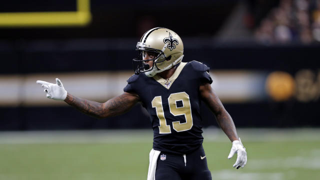 New Orleans Saints wide receiver Ted Ginn (19) calls out to the sideline in the second half of an NFL football game against the Arizona Cardinals in New Orleans, Sunday, Oct. 27, 2019. (AP Photo/Bill Feig)