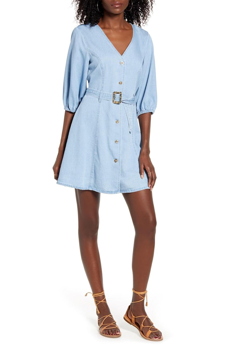 "<p>Style this <a href=""https://www.popsugar.com/buy/VERO-MODA-Clarisa-Belted-Chambray-Dress-582013?p_name=VERO%20MODA%20Clarisa%20Belted%20Chambray%20Dress&retailer=shop.nordstrom.com&pid=582013&price=69&evar1=fab%3Aus&evar9=35329485&evar98=https%3A%2F%2Fwww.popsugar.com%2Ffashion%2Fphoto-gallery%2F35329485%2Fimage%2F47550219%2FVERO-MODA-Clarisa-Belted-Chambray-Dress&list1=shopping%2Cdenim%2Csummer%20fashion%2Cfashion%20shopping&prop13=mobile&pdata=1"" class=""link rapid-noclick-resp"" rel=""nofollow noopener"" target=""_blank"" data-ylk=""slk:VERO MODA Clarisa Belted Chambray Dress"">VERO MODA Clarisa Belted Chambray Dress</a> ($69) with sandals.</p>"