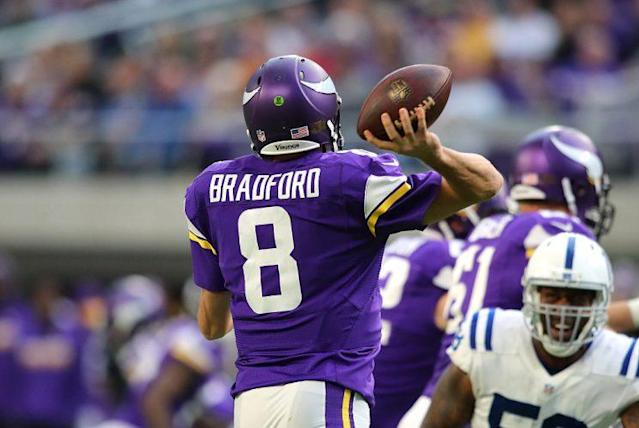 Sam Bradford just delivered the most boring historic season in memory. <br> (Photo by Adam Bettcher/Getty Images)