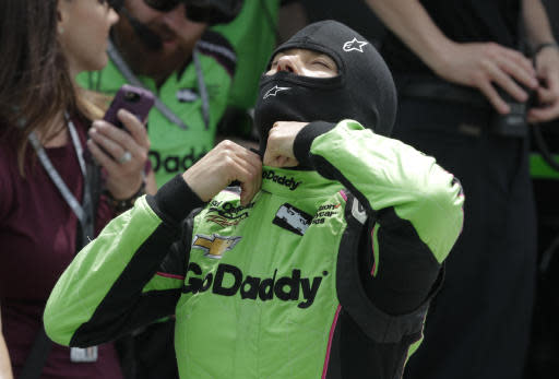 Danica Patrick prepares to drive during a practice session for the IndyCar Indianapolis 500 auto race at Indianapolis Motor Speedway, in Indianapolis Monday, May 21, 2018. (AP Photo/Michael Conroy)