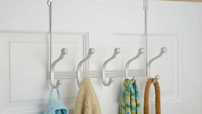 Over-the-door hooks require no installation, and provide extra storage for your wet towels and winter jackets.
