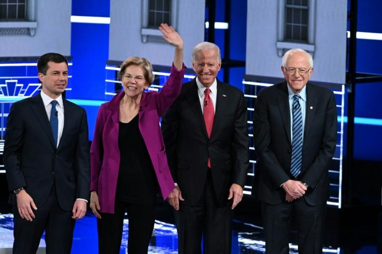 The top candidates in the Democratic presidential nomination race (from left) -- Mayor Pete Buttigieg, Senator Elizabeth Warren, former vice president Joe Biden and Senator Bernie Sanders -- squared off in the party's fifth debate of the 2020 cycle (AFP Photo/SAUL LOEB)