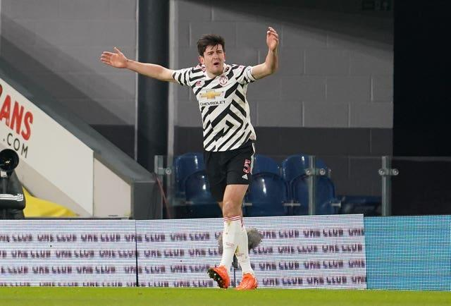 Harry Maguire reacts after his goal is disallowed