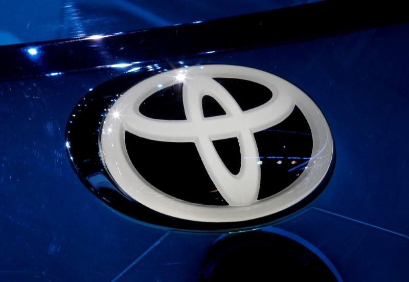 FILE PHOTO: A Toyota logo is seen on media day at the Mondial de l'Automobile, the Paris auto show, in Paris, France, September 29, 2016. REUTERS/Jacky Naegelen/File Photo