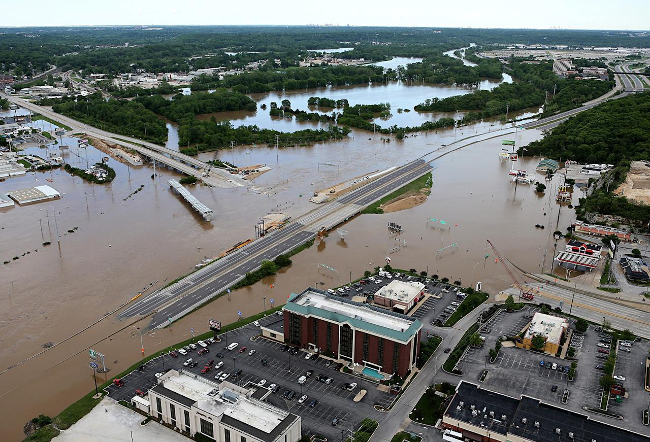<p>Interstate 44 is covered by floodwater in both directions at the intersection of Highway 141 in St. Louis County, Mo., May 2, 2017. (David Carson/St. Louis Post-Dispatch via AP) </p>
