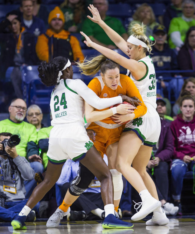 Tennessee's Lou Brown (21) tries to get between Notre Dame's Destinee Walker (24) and Sam Brunelle (33) during an NCAA college basketball game Monday, Nov. 11, 2019 at Purcell Pavilion in South Bend, Ind. (Michael Caterina/South Bend Tribune via AP)
