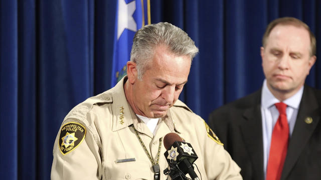 Clark County Sheriff Joe Lombardo left, pauses during a news conference at the Metropolitan Police Department in Las Vegas, as FBI special agent Aaron Rouse, right, looks on, Friday, Oct. 13, 2017. (Photo: Heidi Fang/Las Vegas Review-Journal via AP)