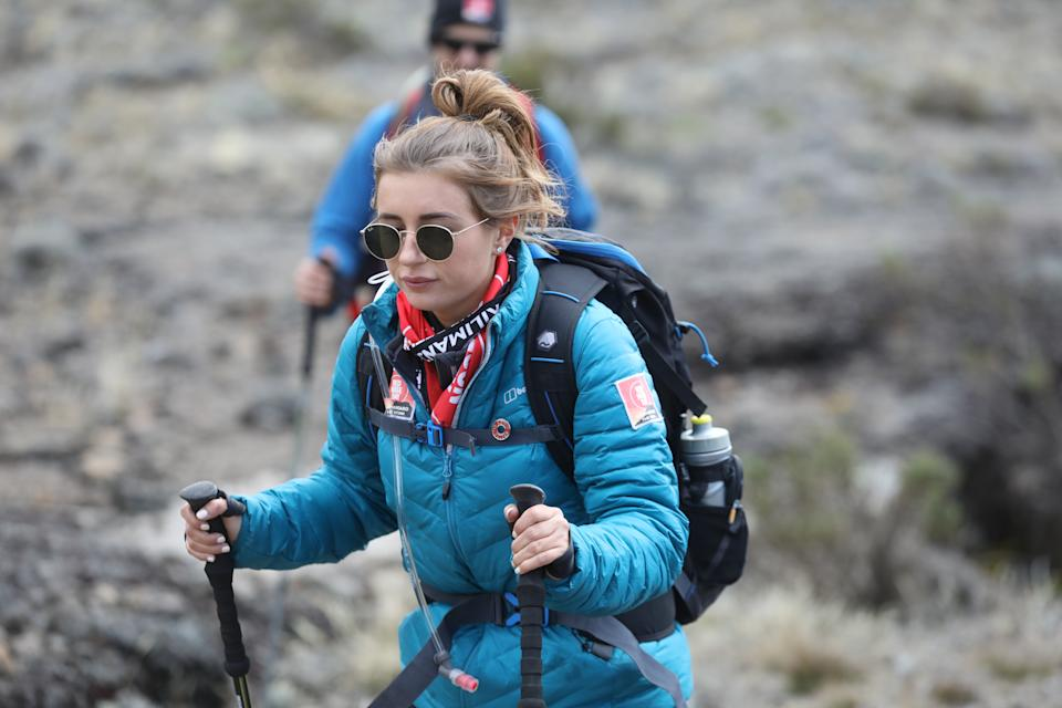 ARUSHA, TANZANIA - FEBRUARY 27: (STRICTLY EDITORIAL USE ONLY) Dani Dyer during day five of 'Kilimanjaro: The Return' for Red Nose Day on February 27, 2019 in Arusha, Tanzania, all to raise funds for Comic Relief supported projects in the UK and around the world. (Photo by Chris Jackson/Getty Images for Comic Relief)