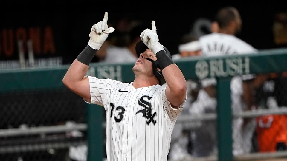 James McCann points to the sky