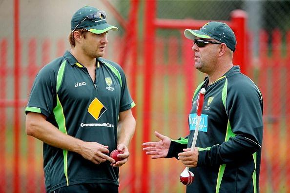 CENTURION, SOUTH AFRICA - FEBRUARY 10: Shane Watson speaks to Darren Lehmann look on during an Australian nets session at Centurion Park on February 10, 2014 in Centurion, South Africa. (Photo by Morne de Klerk/Getty Images)