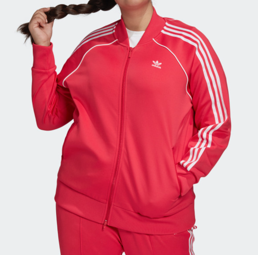 adidas Originals Women's SST Track Top (Plus Size) in Power Pink/White