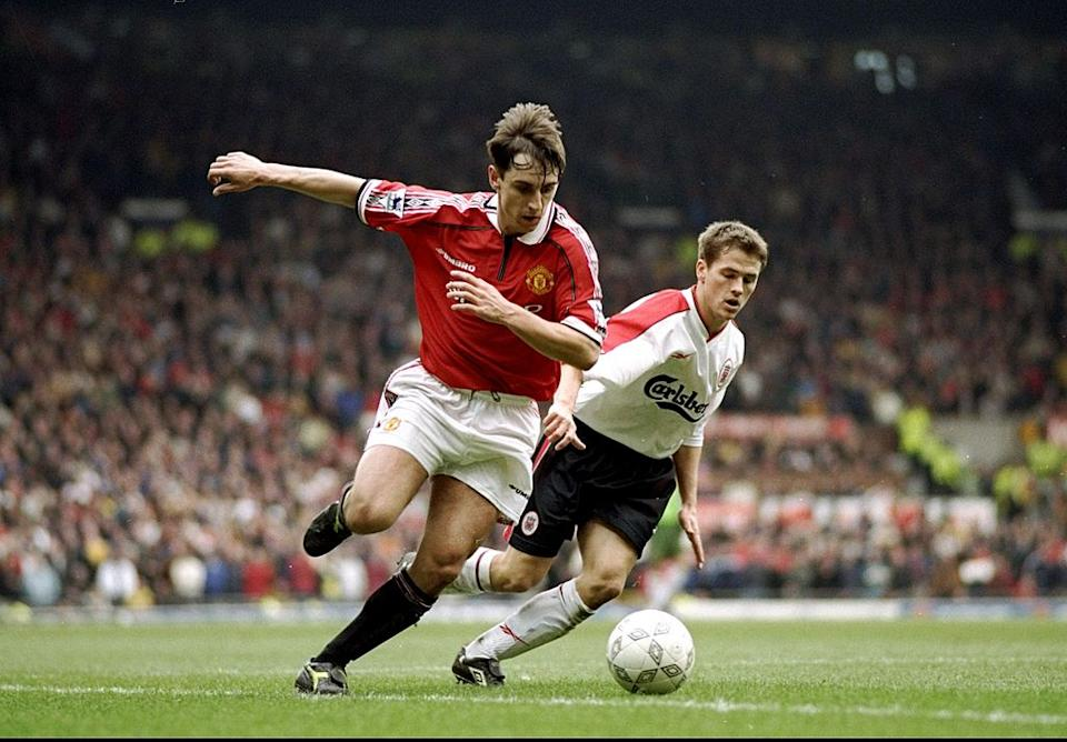 Gary Neville is closed down by Michael Owen during the 1999 FA Cup tie (Getty)