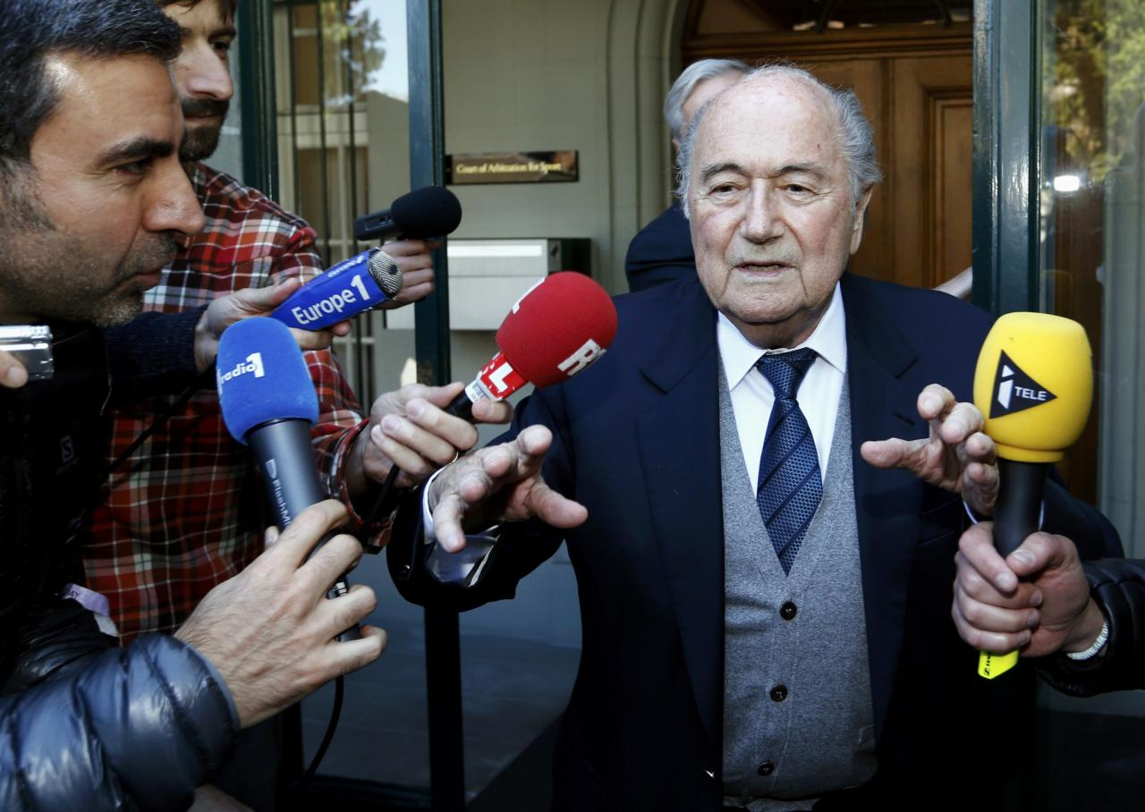 Former FIFA President Sepp Blatter leaves  the Court of Arbitration for Sport (CAS) where he was cited as a witness in an appeal of UEFA President Michel Platini against FIFA's ethics committee's ban, in Lausanne, Switzerland April 29, 2016. REUTERS/Denis Balibouse  TPX IMAGES OF THE DAY