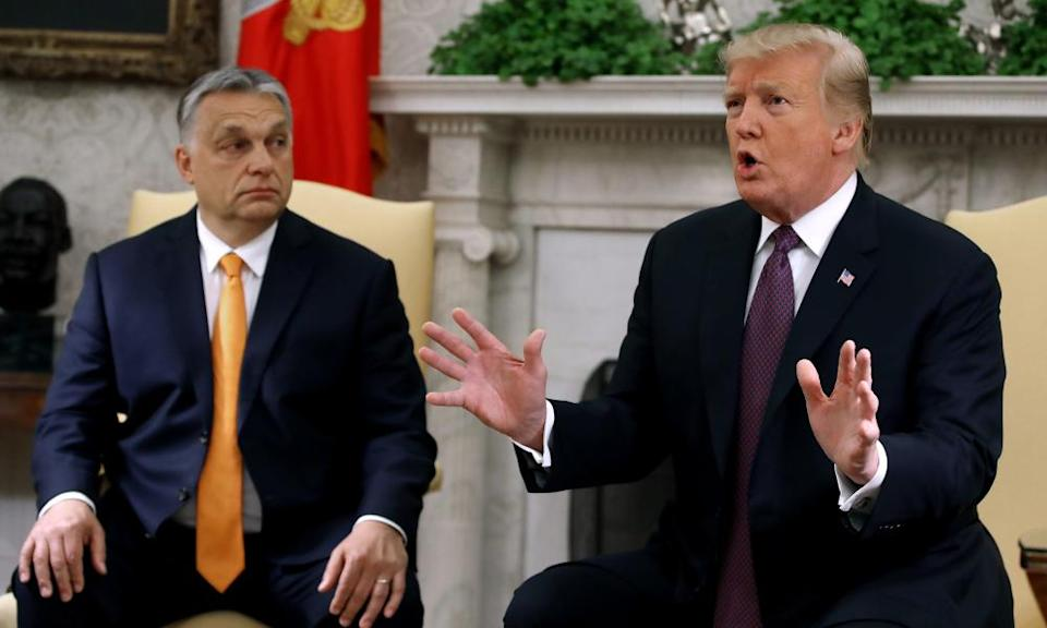 Trump with Viktor Orbán in the Oval Office in May 2019. Hungary's far-right prime minister has been described as 'Trump before Trump'.