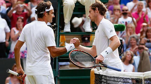 Federer and Murray at Wimbledon in 2015. Image: Getty