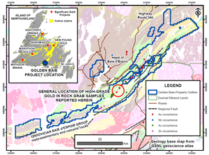 Golden Baie Project Location, Claims, and Mineral Occurrences