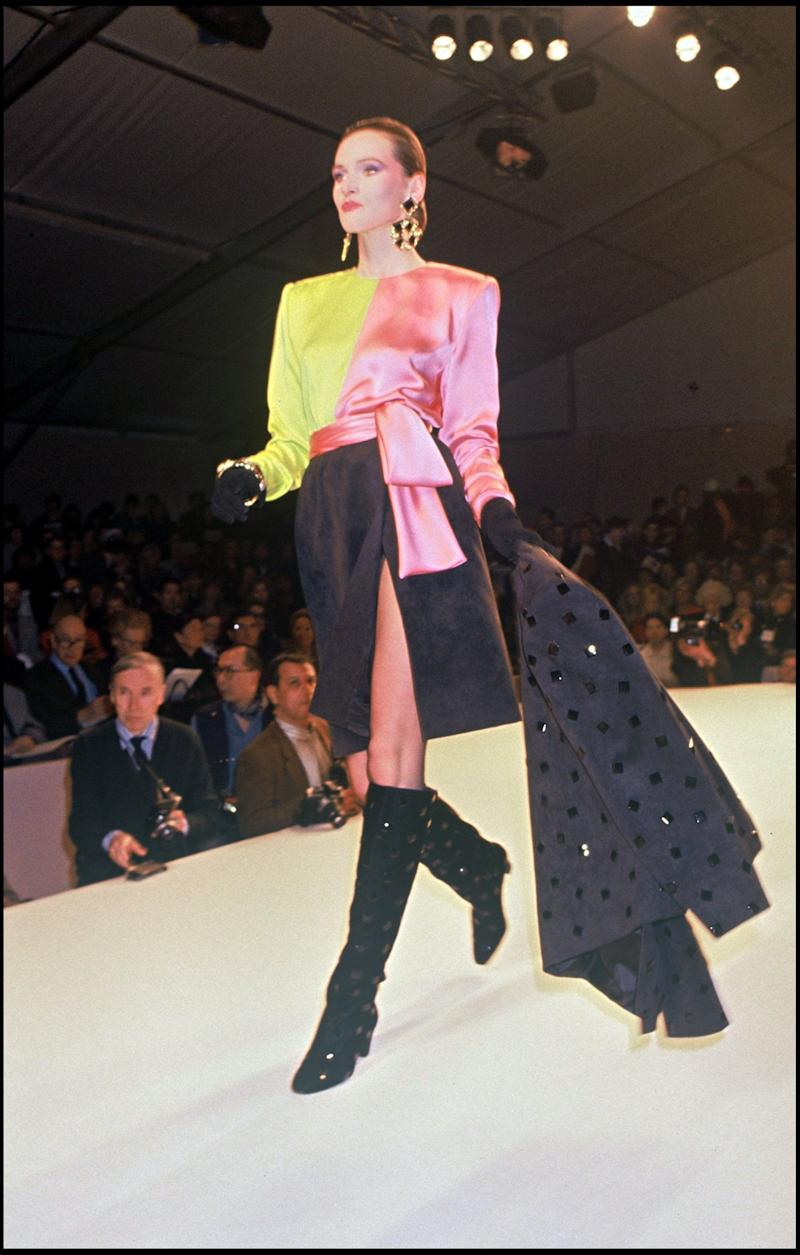 A model walks during the Givenchy fall/winter 1991-1992 ready-to-wear show.