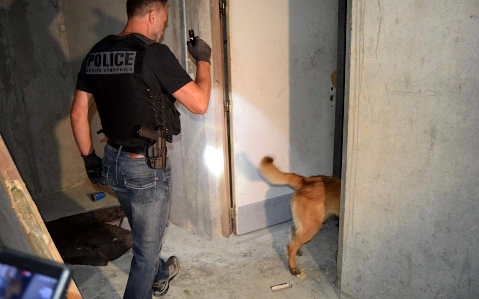A French police officer enters a room with a police dog as they search for weapons after a weekend of unrest blamed on Chechens seeking vengeance