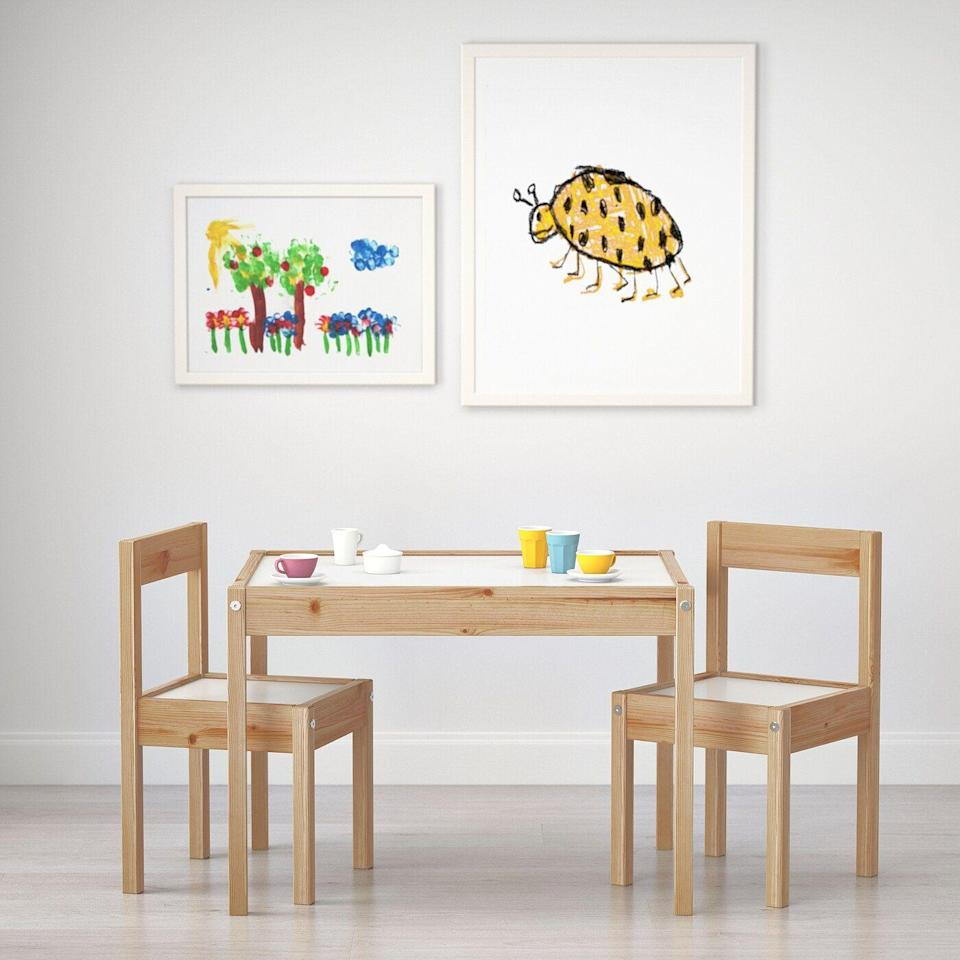 """<p><strong>IKEA</strong></p><p>ikea.com</p><p><strong>$29.99</strong></p><p><a href=""""https://go.redirectingat.com?id=74968X1596630&url=https%3A%2F%2Fwww.ikea.com%2Fus%2Fen%2Fp%2Flaett-childrens-table-and-2-chairs-white-pine-50178411%2F&sref=https%3A%2F%2Fwww.housebeautiful.com%2Fshopping%2Ffurniture%2Fg35205213%2Fbest-kids-desks%2F"""" rel=""""nofollow noopener"""" target=""""_blank"""" data-ylk=""""slk:BUY NOW"""" class=""""link rapid-noclick-resp"""">BUY NOW</a></p><p>Reviewers praise this kids table for its sturdiness, quality, and how easy it is to assemble. It's ideal for anyone who wants a versatile option at a reasonable price.</p>"""