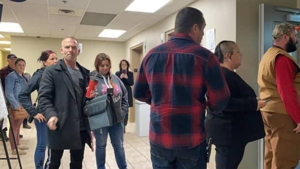 The protesters were not wearing masks when they showed up at the courthouse Tuesday in Edmundston.