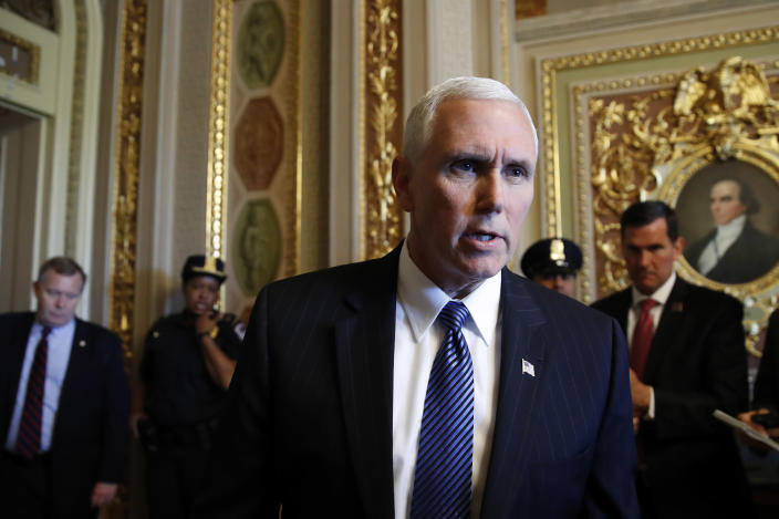 Vice President Pence talks to reporters on May 10 about the firing of FBI Director James Comey. (Photo: Jacquelyn Martin/AP)
