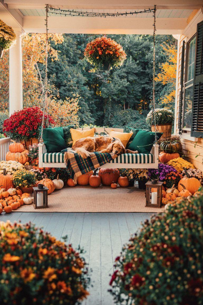 """<p>One word: Wow. We want to spend all our time on this idyllic, pumpkin-filled porch. </p><p><strong>See more at <a href=""""https://www.classygirlswearpearls.com/2019/09/fall-porch-decorating.html"""" rel=""""nofollow noopener"""" target=""""_blank"""" data-ylk=""""slk:Classy Girls Wear Pearls"""" class=""""link rapid-noclick-resp"""">Classy Girls Wear Pearls</a>. </strong></p><p><a class=""""link rapid-noclick-resp"""" href=""""https://www.amazon.com/Hanging-Lantern-Portable-Operated-Decoration/dp/B01I4H53N4?tag=syn-yahoo-20&ascsubtag=%5Bartid%7C2164.g.36877187%5Bsrc%7Cyahoo-us"""" rel=""""nofollow noopener"""" target=""""_blank"""" data-ylk=""""slk:SHOP LED CANDLE LANTERNS"""">SHOP LED CANDLE LANTERNS</a></p>"""