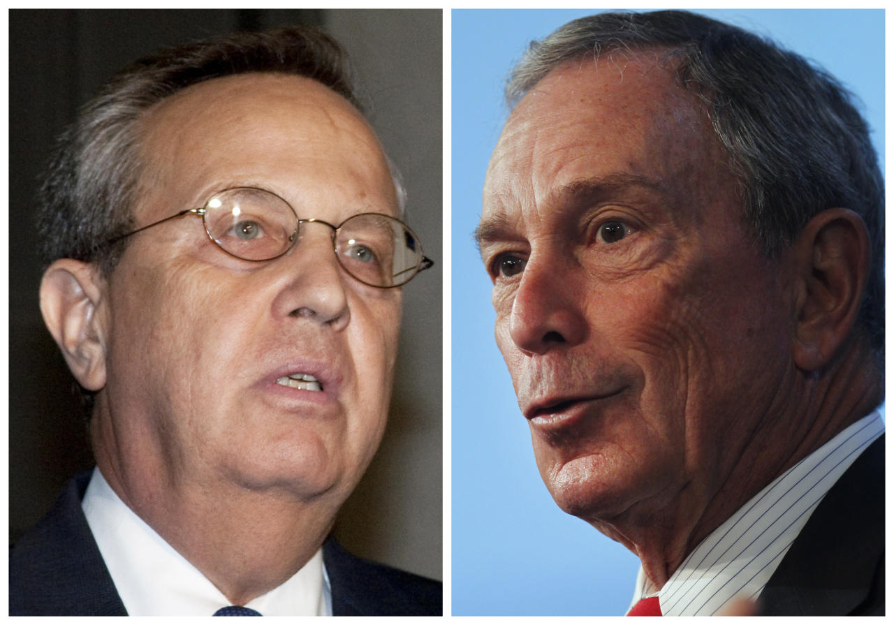 "This combo made from file photos shows Yale President Richard Levin in New Haven Conn. on Sept. 13, 2009, left, and New York Mayor Michael Bloomberg in Cambridge, Mass. on Nov. 29, 2011. Bloomberg is facing off with Yale University over efforts by the NYPD to monitor Muslim student groups. Levin on Monday, Feb. 20, 2012 said in a statement that monitoring of students based on religion was ""antithetical"" to the schools' values. Bloomberg defended the practice, saying there is nothing wrong with officers keeping an eye on websites that are available to the general public. (AP File Photos)"