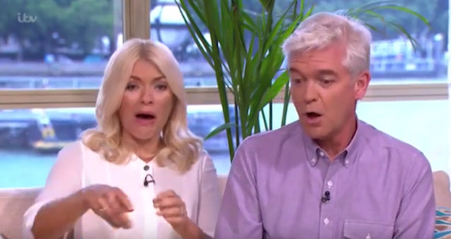 Hosts Holly Willoughby and Phillip Schofield react to Monet the pony having an accident on <em>This Morning</em>. (Photo: ITV)