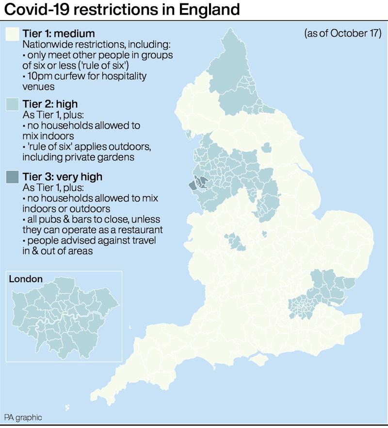 COVID map shows which areas in England are under tightest restrictions (PA)