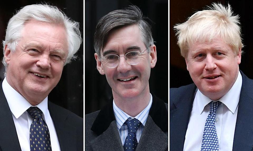 Brexiteers including David Davis, Jacob Rees-Mogg and Boris Johnson have been vocal in their opposition to the Irish backstop (Getty Images)