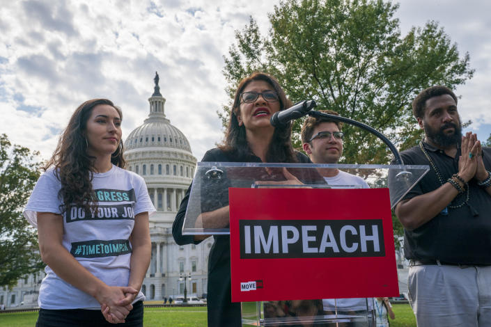 Rep. Rashida Tlaib, D-Mich., a member of the House Committee on Oversight and Reform, rallies for the impeachment of President Trump, Sept. 26, 2019. (Photo: J. Scott Applewhite/AP)