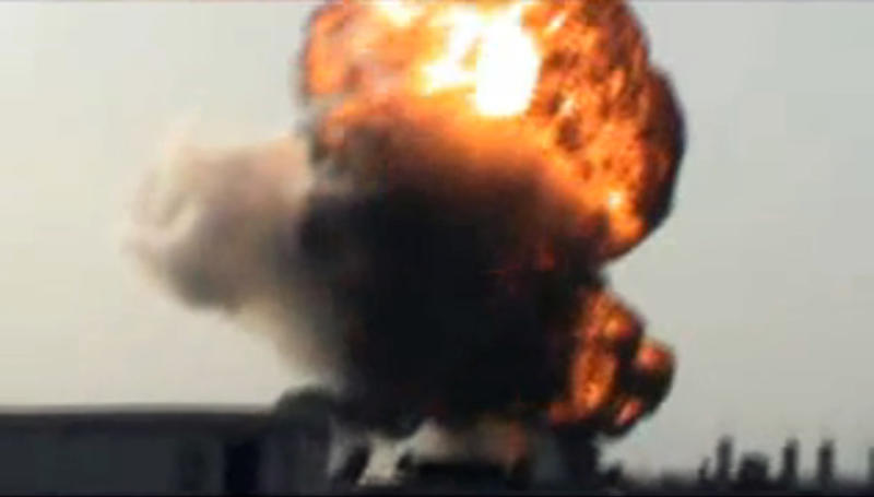 This image made from amateur video and released by Shaam News Network Saturday, March 24, 2012, purports to show a fireball after rockets fell in the Khaldiyeh area of Homs, Syria. (AP Photo/Shaam News Network via AP video) THE ASSOCIATED PRESS CANNOT INDEPENDENTLY VERIFY THE CONTENT, DATE, LOCATION OR AUTHENTICITY OF THIS MATERIAL. TV OUT