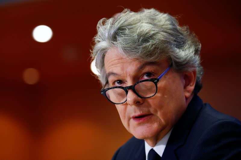Thierry Breton attends his hearing before the European Parliament in Brussels
