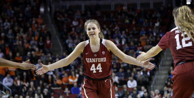 Karlie Samuelson exited the national semifinal with an apparent ankle injury. (AP)