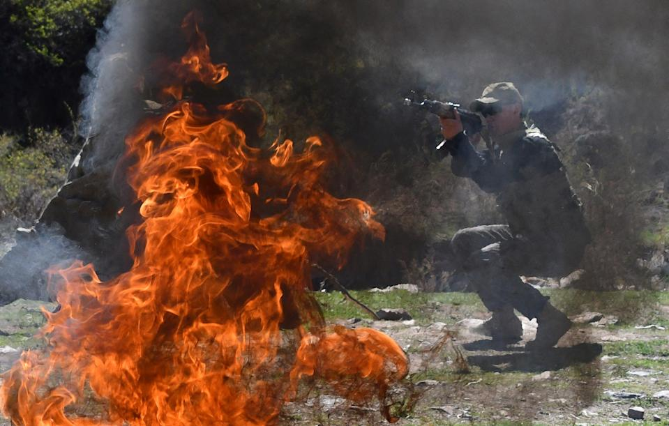 <p>File: Kyrgyzstan troop during military drills in the Tatyr gorge area</p> (AFP via Getty Images)