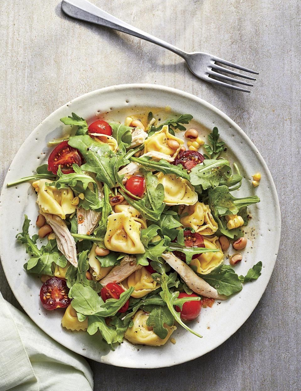 """<p><strong>Recipe: </strong><a href=""""https://www.southernliving.com/recipes/chicken-tortellini-salad"""" rel=""""nofollow noopener"""" target=""""_blank"""" data-ylk=""""slk:Chicken Tortellini Salad"""" class=""""link rapid-noclick-resp""""><strong>Chicken Tortellini Salad</strong></a></p> <p>Store-bought favorites like refrigerated tortellini and rotisserie chicken meet in this easy salad that will be the most delicious brown bag lunch in the office.</p>"""