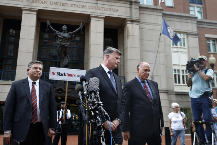 Members of the defense team for Paul Manafort, from left, Richard Westling, Kevin Downing and Thomas Zehnle, outside federal court in Alexandria, Va., after Manafort was found guilty of eight crimes, Aug. 21, 2018. (Photo: Jacquelyn Martin/AP)