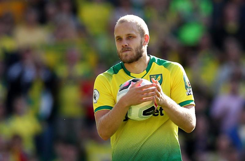 Norwich City's Teemu Pukki celebrates his hat-trick with the match ball after the Premier League match with Newcastle United at Carrow Road in Norwich August 17, 2019. — Reuters pic