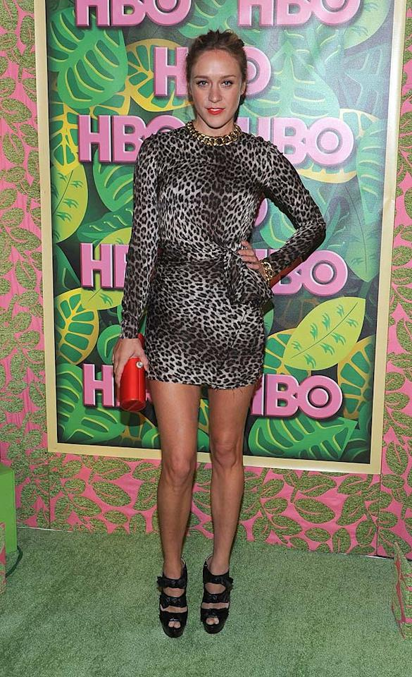"""Last but not least ... """"Big Love"""" beauty Chloe Sevigny, who was on the prowl at HBO's annual Emmy post-show reception in a long-sleeved, leopard-print Lanvin mini, Louboutin """"Madame Butterfly"""" booties, and chunky Ippolita jewels. What do you make of her getup? Ferocious or fug? Michael Buckner/<a href=""""http://www.gettyimages.com/"""" target=""""new"""">GettyImages.com</a> - August 29, 2010"""
