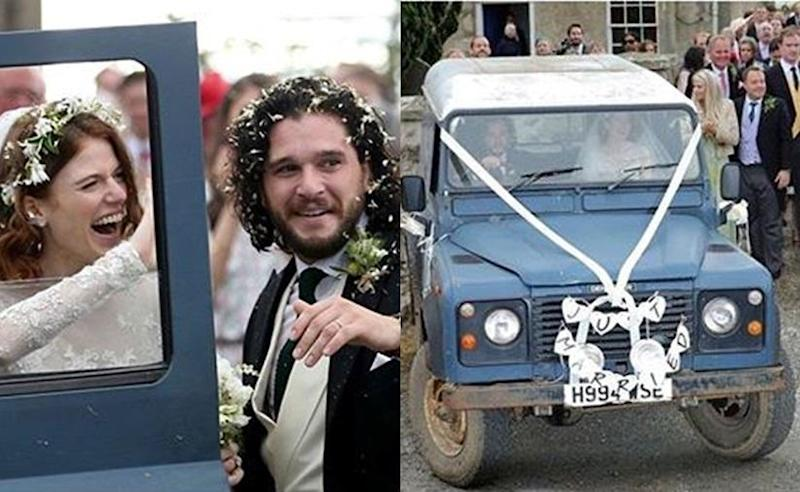 This Is Kit Harington And Rose Leslies Land Rover Wedding Car