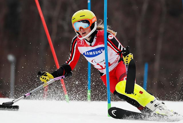 Alpine Skiing - Pyeongchang 2018 Winter Paralympics - Women's Slalom - Standing - Run 1 - Jeongseon Alpine Centre - Jeongseon, South Korea - March 18, 2018 - Frederique Turgeon of Canada. REUTERS/Paul Hanna