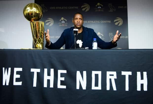Toronto Raptors president Masai Ujiri speaks to the media after winning the 2019 NBA championship. Ujiri is headed to free agency with the 2021 season over, and his future with the team is unknown. (Nathan Denette/The Canadian Press - image credit)