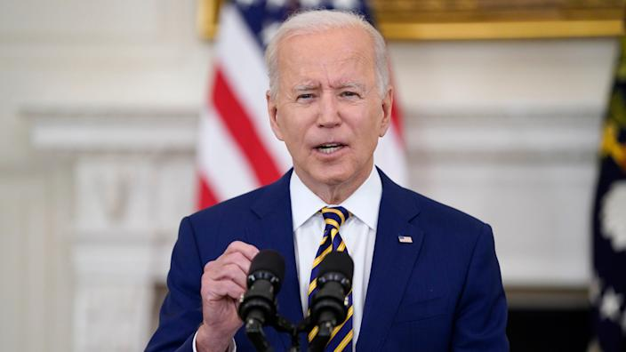 President Joe Biden speaks about reaching 300 million COVID-19 vaccination shots, in the State Dining Room of the White House, Friday, June 18, 2021, in Washington. (AP Photo/Evan Vucci) ORG XMIT: DCEV311
