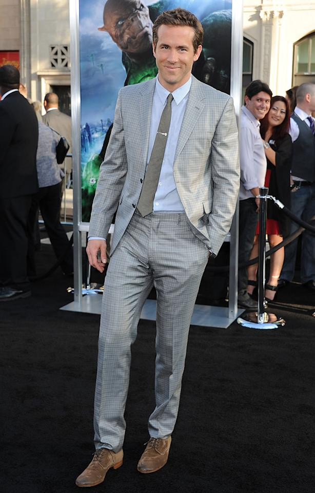 """<a href=""""http://movies.yahoo.com/movie/contributor/1800025139"""">Ryan Reynolds</a> at the Los Angeles premiere of <a href=""""http://movies.yahoo.com/movie/1810166777/info"""">Green Lantern</a> on June 15, 2011."""